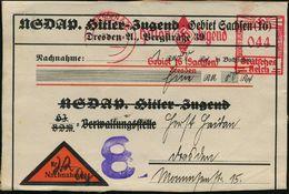 DRESDEN A 24/ Hitler Jugend/ Gebiet 16 (Sachsen).. 1938 (31.8.) AFS 044 Pf. Auf Seltenem NN-Adreß-Aufkleber: NSDAP Hitle - Stamps