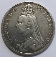 Pièce Monnaie. Angleterre. United Kingdom. Reine Victoria. Couronne. 1889. Argent 27,61gr.  - 38 Mm - Monnaies
