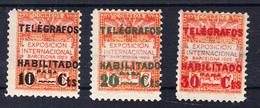 BARCELONA 1930. TELEGRAFOS EDIFIL Nº 1/3 .SELLOS HABILITADOS  NUEVOS SIN  GOMA.RAROS  .CECI 2 Nº 131 - Barcelona