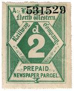 (I.B-CK) London & North Western Railway : Newspaper Parcel 2d (large Format) - 1840-1901 (Victoria)