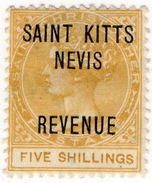 (I.B) St Kitts Revenue : Duty Stamp 5/- - St.Kitts And Nevis ( 1983-...)