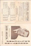 PROGRAMA DEL TEATRO POLITEAMA ARGENTINO COMPAÑIA DE COMEDIA LUIS ARATA AÑO 1953 4 PAGINAS BUENOS AIRES ARGENTINA - Programmes