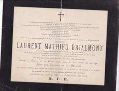 REVOLUTION 1830 Laurent Mathieu BRIALMONT 97 Ans 1885 Croix De Fer Lieutenant Général Aide De Camp Avis Décès A4 - Obituary Notices