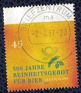 Allemagne 2016 Oblitéré Rond Léger Pli En Haut à Gauche Reinheitsgebot Décret De Pureté De La Bière SU - [7] République Fédérale