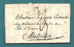 Gard - Villeneuve D'Avignon Pour Montpellier. LAC. Indice 12 - Marcophilie (Lettres)
