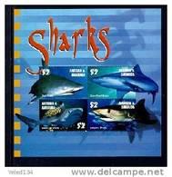 ANTIGUA & BARBUDA  2714  MINT NEVER HINGED MINI SHEET OF FISH-MARINE LIFE  (  SHARKS - Pesci