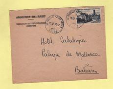Le Bourget Port Aerien - Destination Baleares - 10-7-1951 - Postmark Collection (Covers)