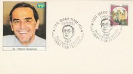 1987 VITTORIO GASSMAN Italy FUNNY FILM  FESTIVAL EVENT COVER Boario Card Cinema  Movie Stamps - Cinema