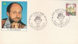 1987 ENRICO BERUSCHI Italy FUNNY FILM  FESTIVAL EVENT COVER Boario Card Cinema  Movie Stamps - Cinema