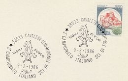 1986 The FIREFIGHTERS Cross Country SKIING EVENT COVER Card CAVALESE ITALY  Firemen Firefighting  Ski Sport Stamps - Firemen