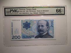 Norway 200 Kroner 1994 P48a  Graded 66 EPQ By PMG (GEM UNCIRCULATED) - Noruega