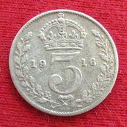 Great Britain 3 Pence 1916 KM# 813 Silver Inglaterra Reino Unido United Kingdom Grande Bretagne Gran Bretana - Great Britain