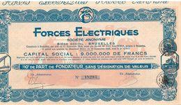 Action Ancienne - Forces Electriques - Société Anonyme - Titre De 1928 - Electricité & Gaz