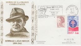 Enveloppe   Hommage  à   JEAN   MOULIN    RODEZ   1983 - Guerre Mondiale (Seconde)