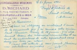 COURSEULLES SUR MER QUINCAILLERIE D. RICHARD ENVOYEE AUX FORGES DE SAINT NICOLAS REVIN ARDENNES EN 1940 - Courseulles-sur-Mer