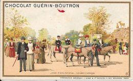 CHROMO CHOCOLAT  GUERIN BOUTRON -   JARDIN D'ACCLIMATATION LES ANES D'AFRIQUE -  PARIS - Guerin Boutron