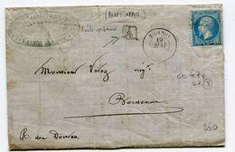 GIRONDE De PONT NAU Boîte Urbaine A + Dateur T 15 De BIGANOS  Sur LAC Du 19:05:1865 - 1849-1876: Période Classique