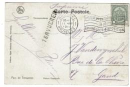 CV Avec 81 Obl BXL Expo 1910 Griffe Tervueren Vers Gand - 1893-1907 Armoiries