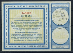 CANADA Vienna Type XX 22 CENTS International Reply Coupon Reponse Antwortschein IAS IRC Issued MONTREAL 31.5.72 ( UT16 ) - Antwortcoupons