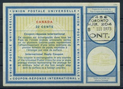 CANADA Vienna Type XX 22 CENTS International Reply Coupon Reponse Antwortschein IAS IRC Issued TORONTO 8.3.73 ( UT16 ) - Antwortcoupons