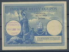 CANADA Type III  5 CENTS Imperial Reply Coupon Reponse IRC Britannia With Sailing Ship O TORONTO 26.11.47  UT 3 - Antwortcoupons
