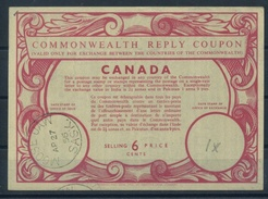 CANADA  Early Type IX  6 CENTS  Commonwealth Reply Coupon Reponse Antwortschein IRC  O MOOSE JAW SASK 27.4.56  UT9 - Antwortcoupons