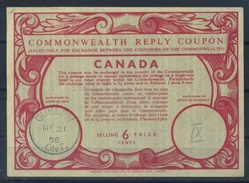 CANADA  Early Type IX  6 CENTS  Commonwealth Reply Coupon Reponse Antwortschein IRC  O GUELPH ONT. 21.5.58  UT9 - Antwortcoupons
