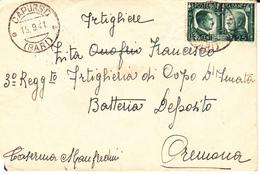 ITALIA FRATELLANZA ARMI 1941 SASS.457C SU BUSTA DA CAPURSO - 1900-44 Vittorio Emanuele III