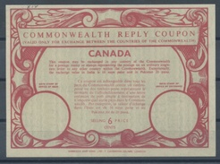 CANADA  Type XIV  6 CENTS  Commonwealth Reply Coupon Reponse Antwortschein IRC   Mint Without Postmark **  UT15a - Antwortcoupons