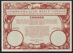 CANADA Type XVII 7 CENTS  Commonwealth Reply Coupon Reponse Antwortschein IRC  Mint Without Date Stamp  UT18 - Antwortcoupons