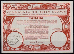 CANADA Type XVII 7 CENTS  UT19  Commonwealth Reply Coupon Reponse IRC Antwortschein O STITTSVILLE 28.8.70 Ekd! - Antwortcoupons