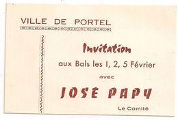 Ville De Portel Les Corbières  -  Carte D'Invitation Aux Bals Avec José Papy - Cartes