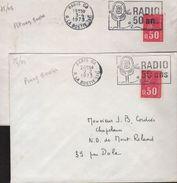 """2 Lettres Paris 08 1973 Machine Pitney Bowes O= """"la RADIO A 50 Ans"""" - Marcophilie (Lettres)"""