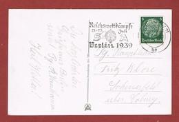 Werbestempel Reichswettkämpfe Berlin 1939 Auf Ansichtkarte - Deutschland