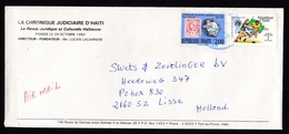Haiti: Cover To Netherlands, 1990, 2 Stamps, World Cup Soccer, Football, UPU, Philately, Rare Real Use (minor Damage) - Haïti