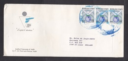Haiti: Cover To Netherlands, 1993, 3 Stamps, Unesco, Peace Pigeon, Rare Real Use (traces Of Use) - Haïti