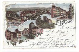 17937 - Gruss Aus Brugg  Multivues Litho 1898 (attention Pli) - AG Argovie