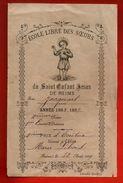 Ecole Libre Des Soeurs Du Saint Enfant Jésus De Reims - Prix D' Ecriture M. Libois 12-08-1889 - Scolaire Récompense ... - Vieux Papiers