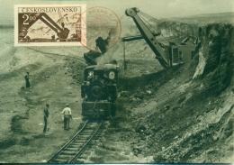 CM-Carte Maximum Card # 1950-Tchècoslovaquie-Czechoslovakia # Industry,power Shovel, Coal Mining Industry #Praha - Czechoslovakia
