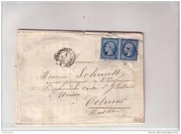 1858 - NAPOLEON III - YVERT N°14A Paire Sur LETTRE De STRASBOURG (BAS RHIN) Pour COLMAR Par AMBULANT PS2 - Storia Postale