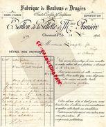 63- CLERMONT FERRAND-FACTURE E. VALLON DE LA VILLETTE & PRUNIERE-FABRIQUE BONBONS GRAGEES-USINE A VAPEUR- 1902 RARE - Food