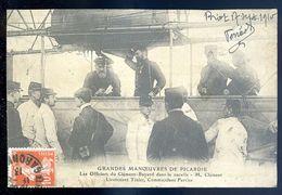 Cpa Grandes Manoeuvres De Picardie Officiers Du Clement Bayard Dans La Nacelle Mr Clement Tixier Ferrier SEP17-47 - Dirigeables