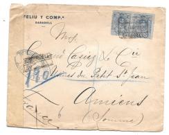 LETTRED'ESPAGNE.. CENSURE CONTROLE POSTAL 1916.... FERME A LA CIRE.. TBE ..VOIR LES SCANS. - Poststempel (Briefe)