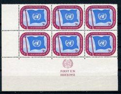 United Nations New York, 1951, 3 C Definitive, LL MI6, First Print, MNH, Gaines 4.1(a) - New York – UN Headquarters