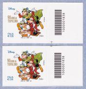 ITALIA Disney 90 Anni Di Topolino Codice A Barre DX-SX Anno 2017 MNH** - 6. 1946-.. Repubblica