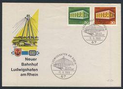 Deutschland Germany 1969 Cover / Brief / Lettre - Neuer Bahnhof Ludwigshafen Am Rhein / Railway Station - Eisenbahnen