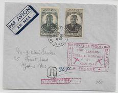 SPM - 1948 - EBOUE Sur ENVELOPPE RECOMMANDEE (1° VOL SPM - USA - CANADA - FRANCE) De ST PIERRE => ST JOHN'S (CANADA) - St.Pierre & Miquelon