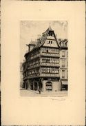 67 - STRASBOURG - Maison Kammerzell - Dessin De ROBIN - Dessin Signé à La Main - Vieux Papiers