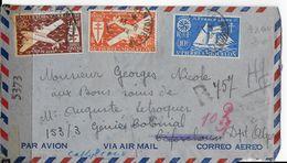 SPM - 1944 - FRANCE LIBRE - ENVELOPPE AIRMAIL RECO Avec CENSURE De ST PIERRE => TEFESCHOUN (ALGERIE) CACHET RARE AU DOS - St.Pierre & Miquelon