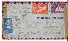 SPM - 1944 - FRANCE LIBRE - ENVELOPPE AIRMAIL RECO Avec 2 CENSURES De ST PIERRE => PORT LYAUTEY (MAROC) - St.Pierre & Miquelon